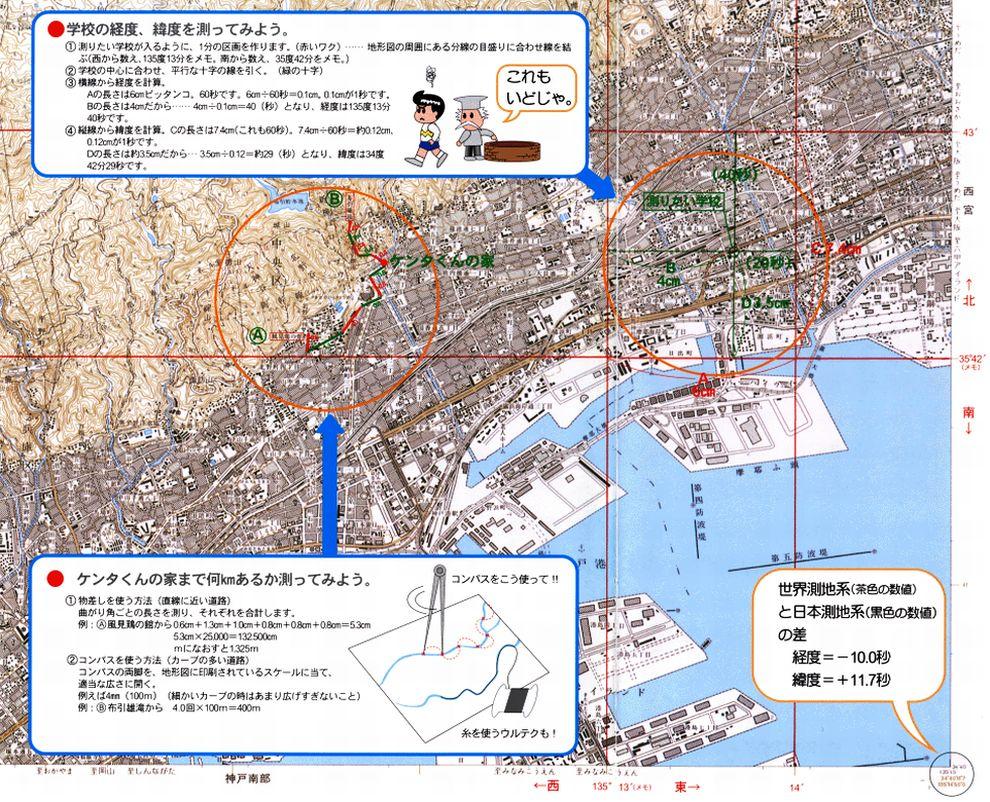 経度、緯度を測ってみよう [もくじへ] [[まえのページへ] [つぎのページへ]  地図から学校