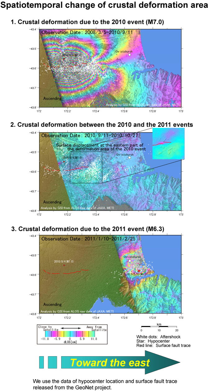 Spatiotemporal change of crustal deformation area
