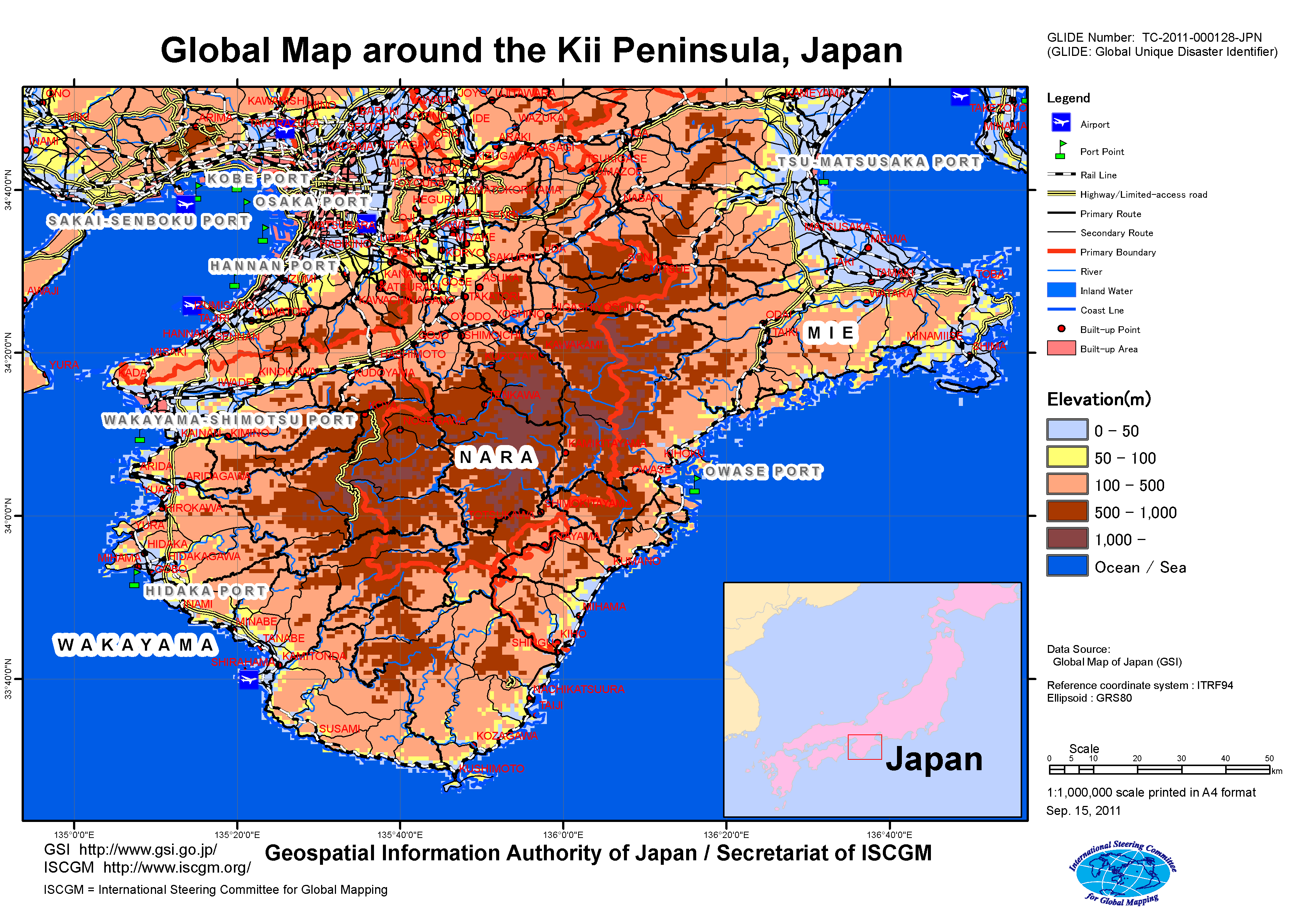 Typhoon In The Kii Peninsula Japan September GSI HOME PAGE - Japan elevation map
