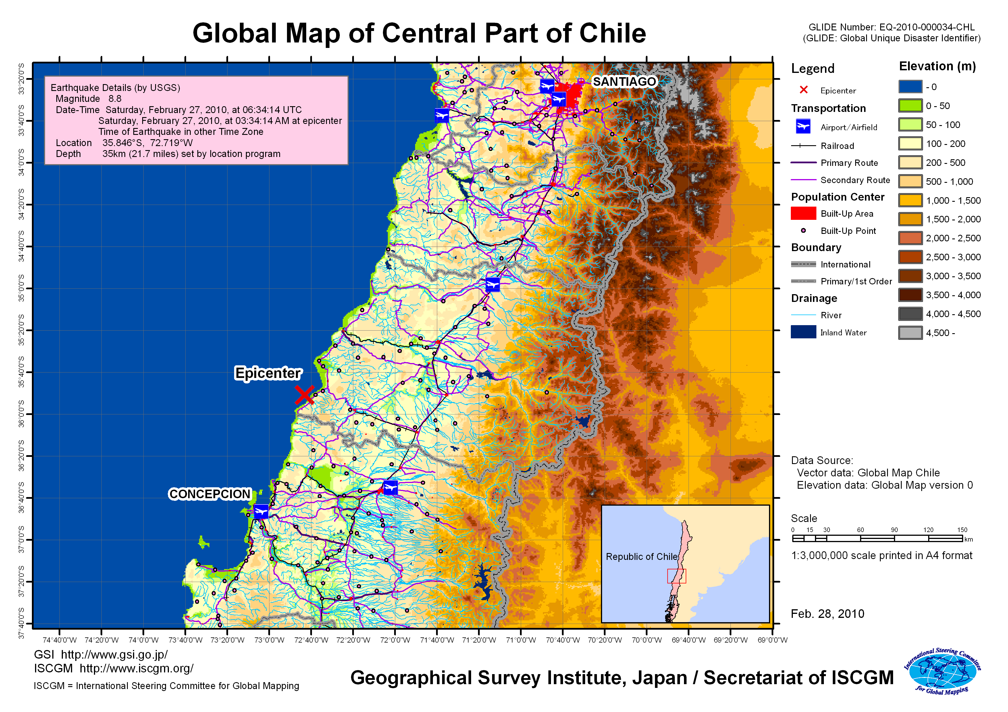 Earthquake in republic of chile february 2010 gsi home page global map chile elevation land use gumiabroncs Images