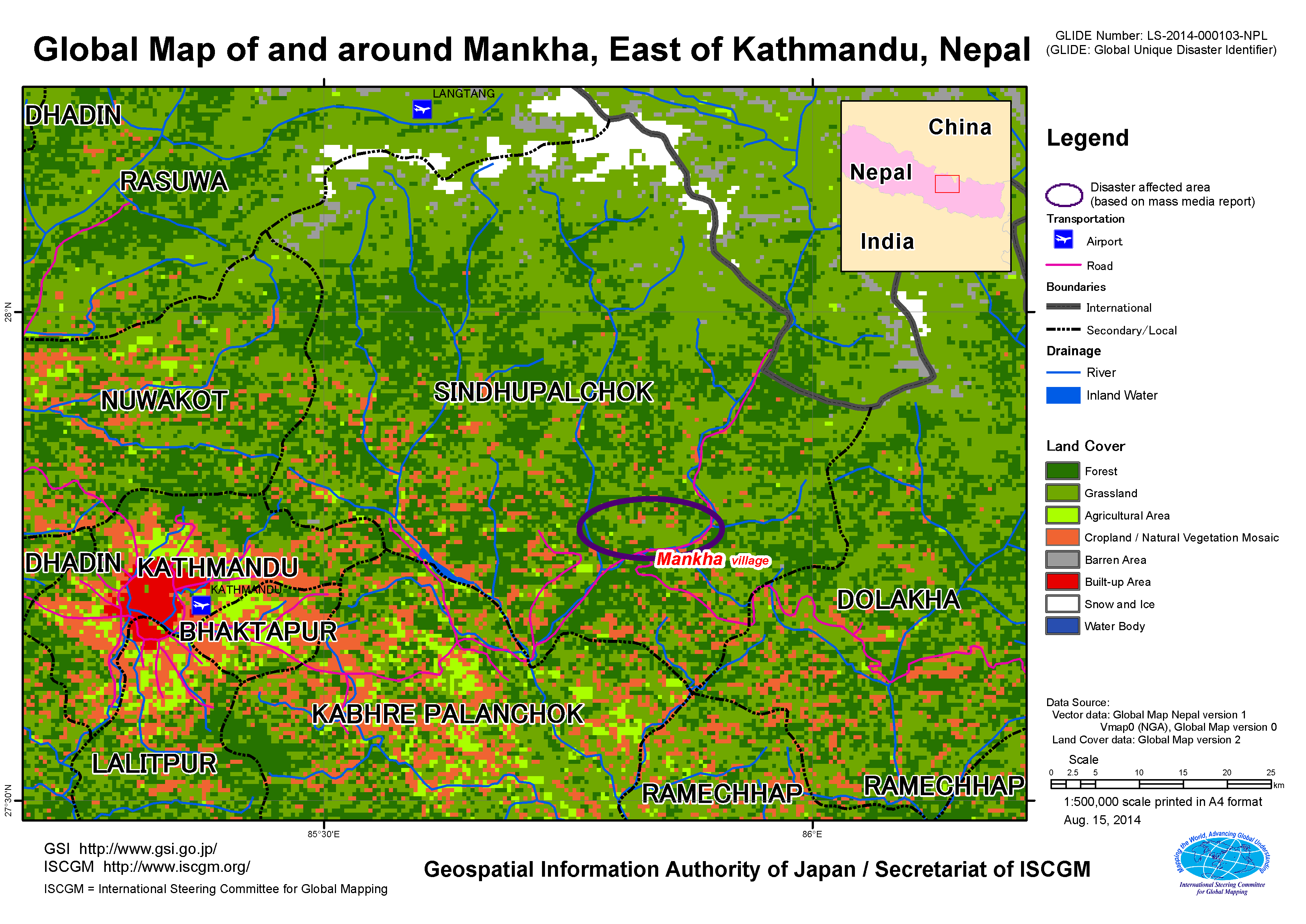 Kathmandu On World Map.Landslide Disaster Of Eastern Nepal Aug 2014 Gsi Home Page