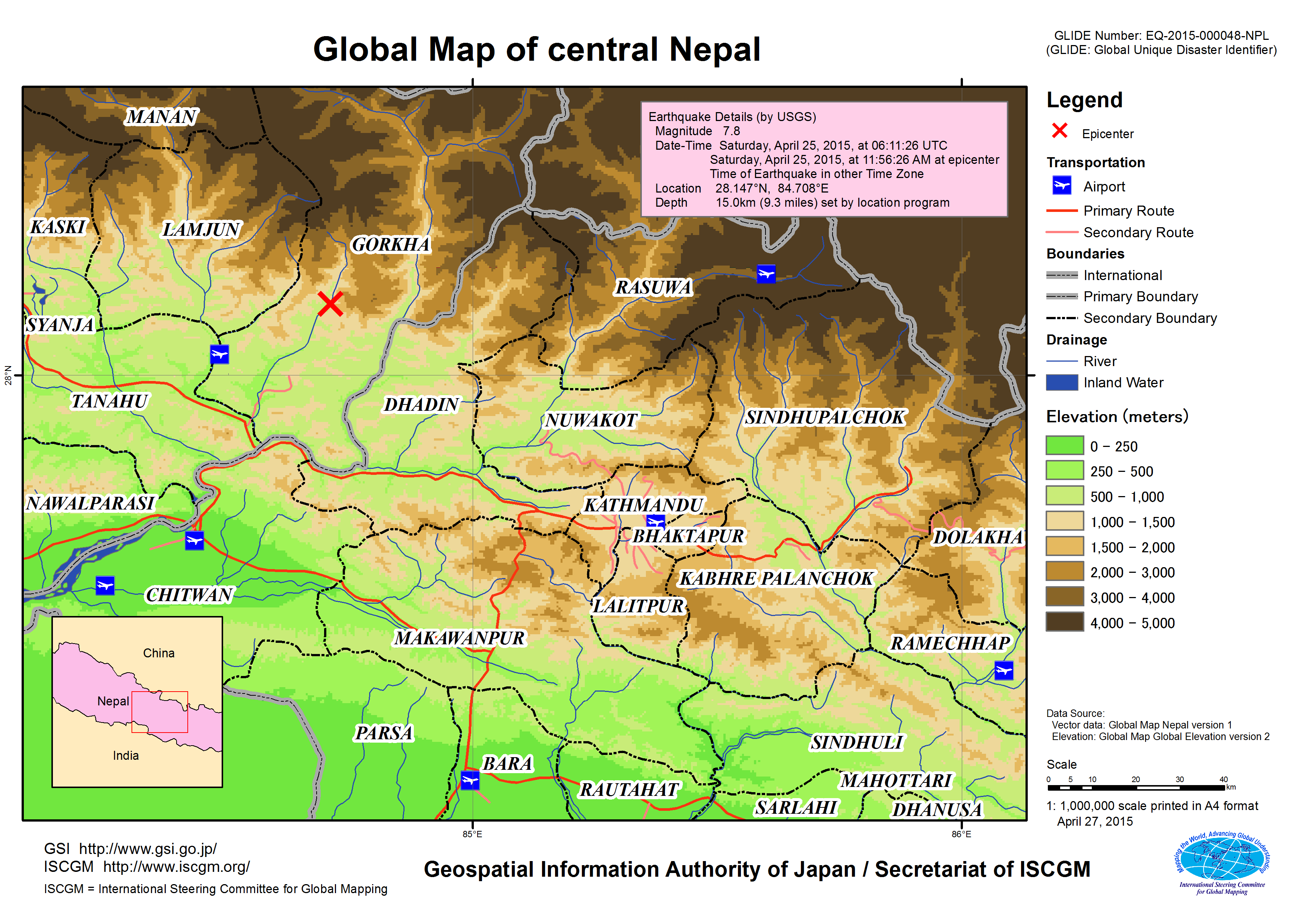 Nepal Elevation Map.Disaster Caused By The Earthquake In Central Nepal April 2015 Gsi