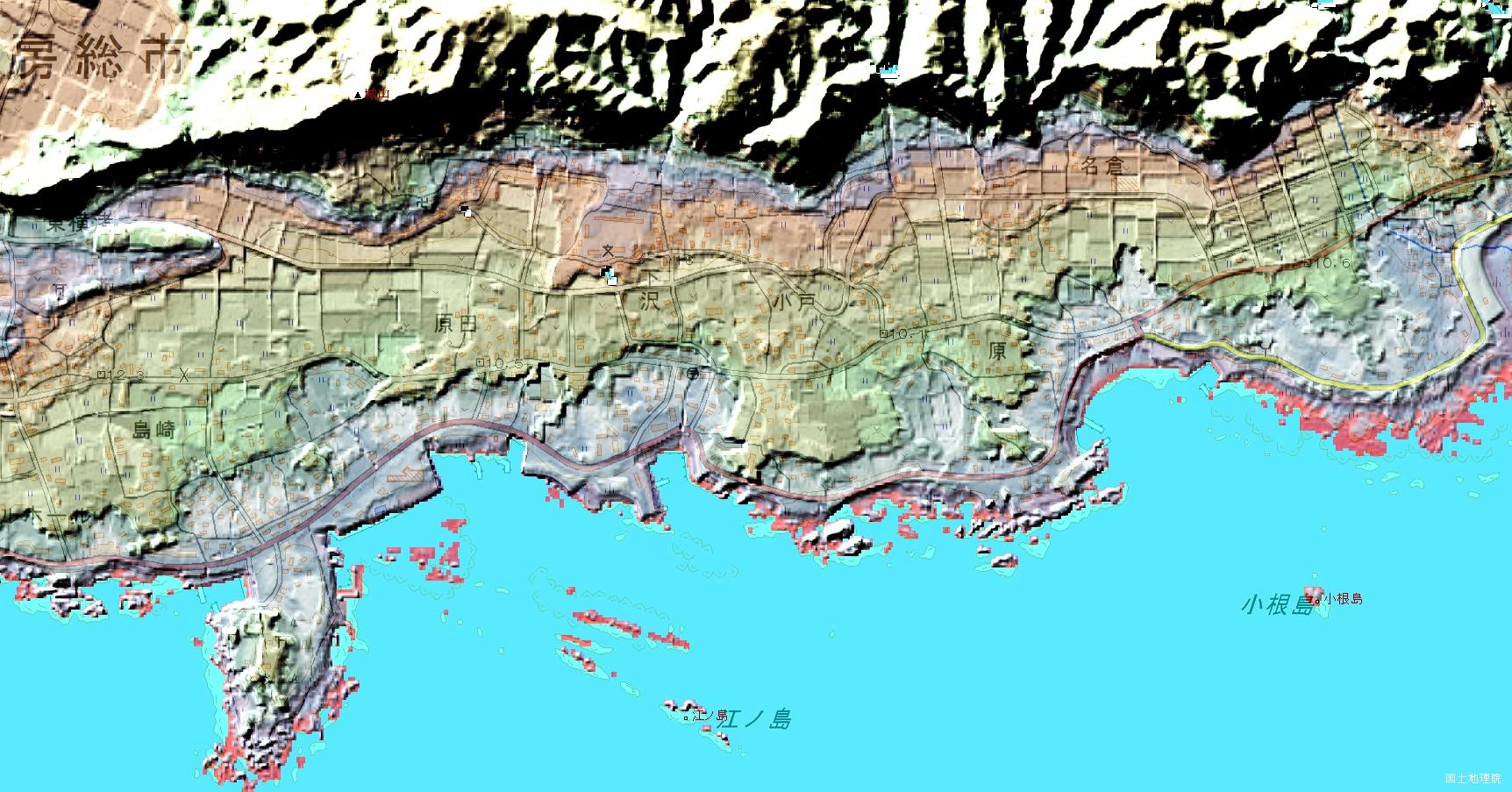 房総半島の海岸段丘 国土地理院