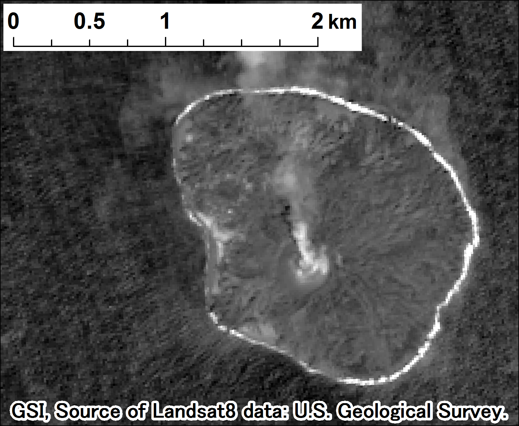 Landsat 8, panchromatic on 2015-10-11