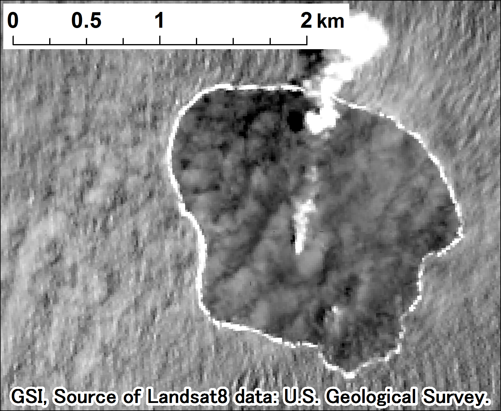 Landsat 8, panchromatic on 2015-06-05