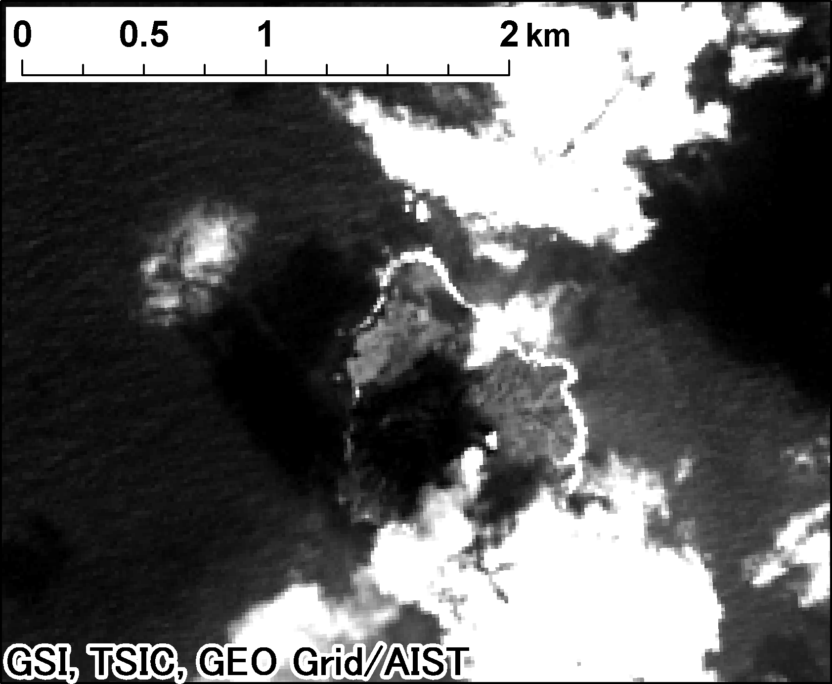 Landsat 8, panchromatic on 2014-02-26