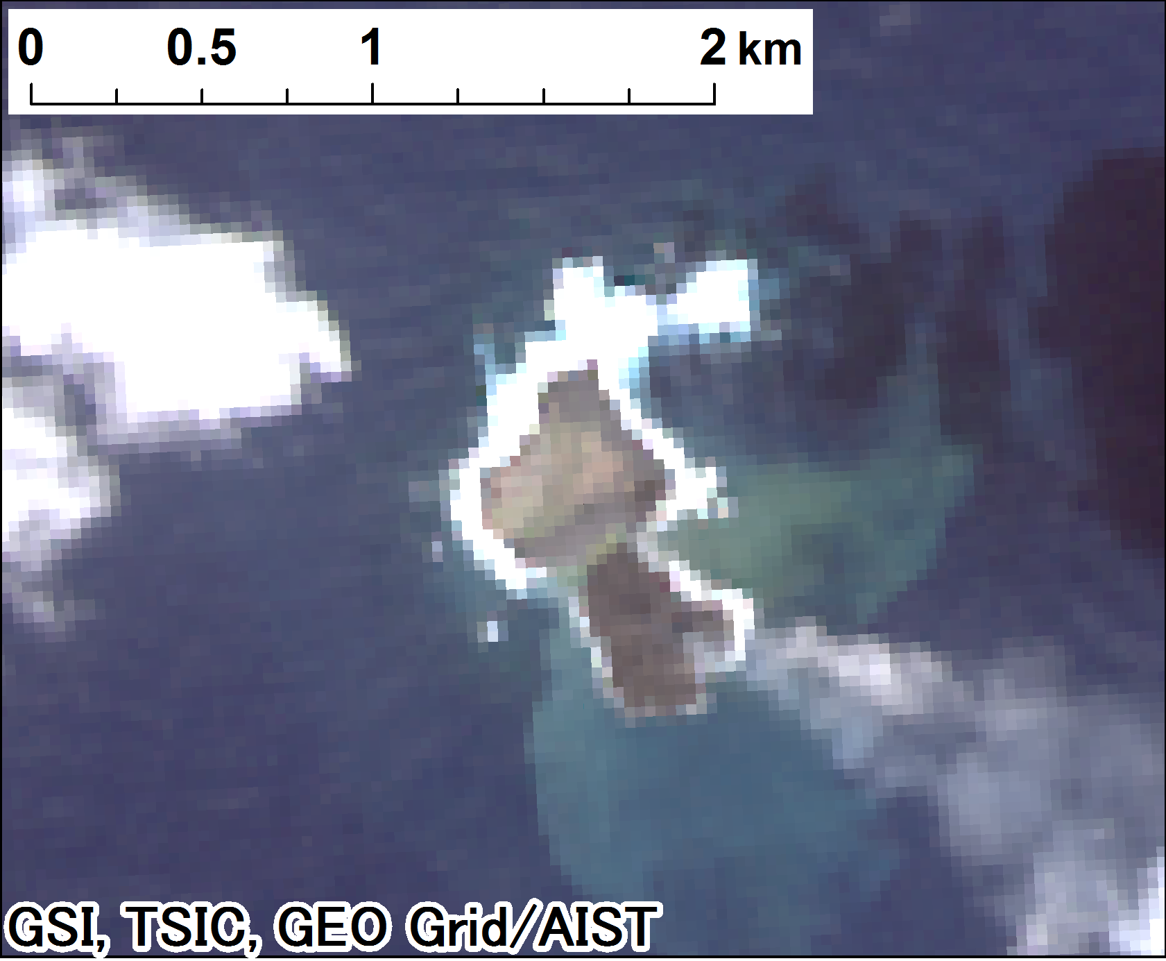 Landsat 8 true-color imagery after the eruption (2013-12-24)
