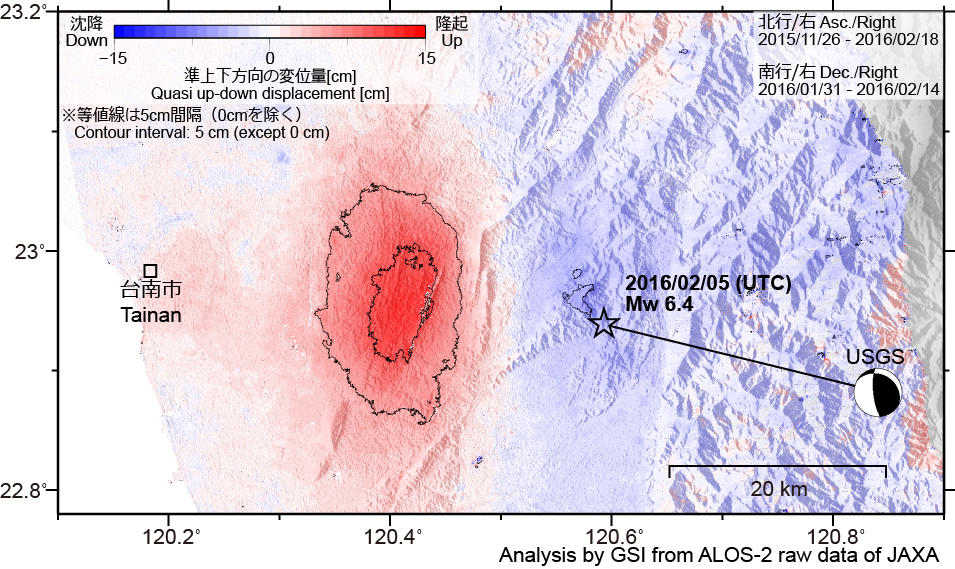 The 2016 Taiwan Earthquake: Crustal deformation detected by