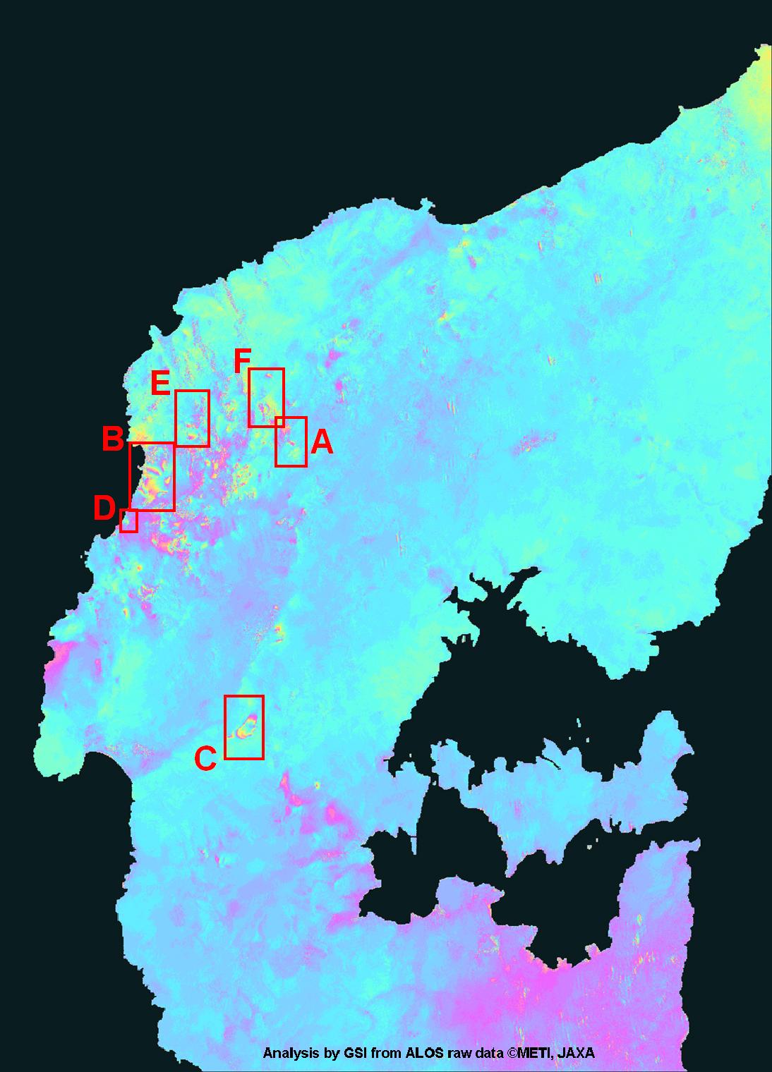 「平成19年能登半島地震」で発生した地表変動に関するSAR干渉画像判読カード」作成範囲を示した。索引図に掲げる5つの範囲のうち、干渉縞が判りやすいように一部分を拡大して判読カードを作成しました。
