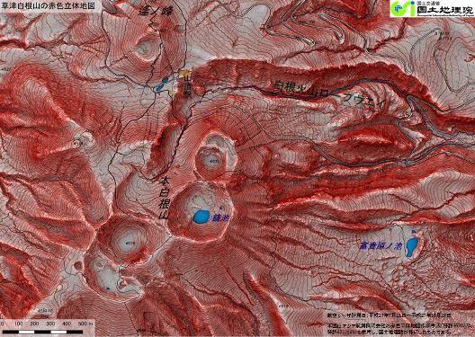 赤色立体地図の画像