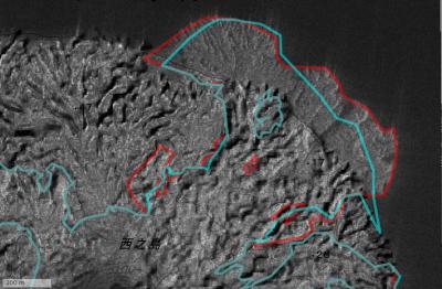 SAR 強度画像の北東部を拡大した図